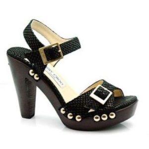 Jimmy Choo Black Suede Platform Sandals